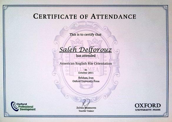مدرک تربیت مدرس از دانشگاه آکسفورد